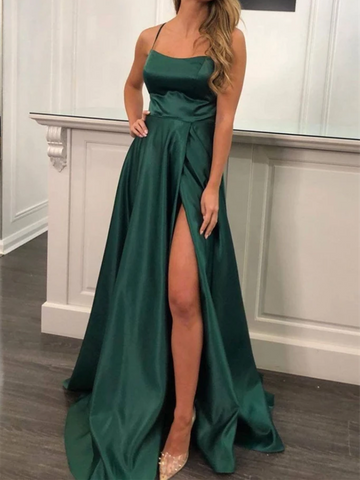 Simple Green Satin Long Prom Dresses With Leg Slit,  Green Satin Long Formal Evening Dresses