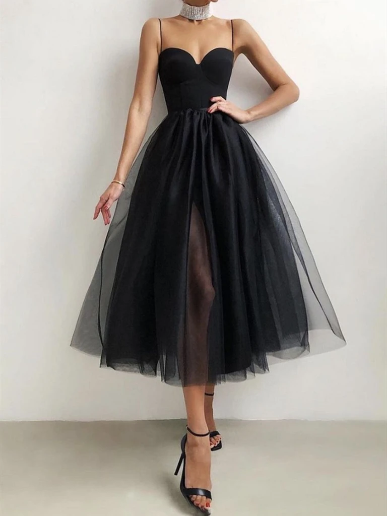 Sweetheart Neck Short Black Tulle Prom Dresses, Little Black Formal Evening Graduation Dresses