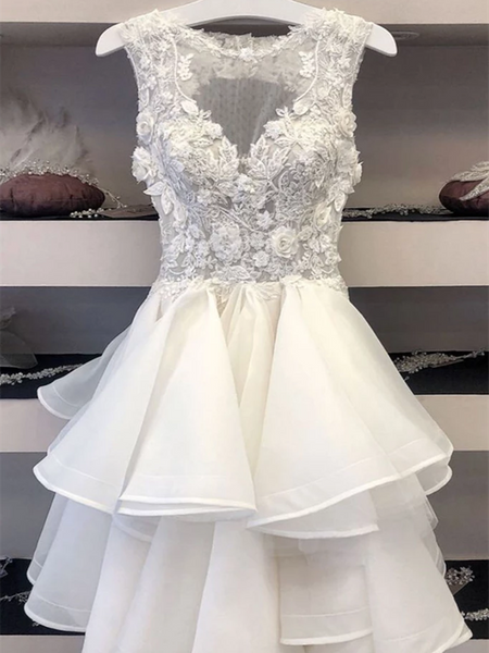 A Line V Neck White Lace Tulle Short Prom Dresses, V Neck White Lace Tulle Short Formal Evening Graduation Dresses