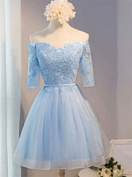 A Line Off Shoulder Light Blue Lace Knee Length Short Prom Dresses, Off the Shoulder Half Sleeves Light Blue Tulle Homecoming Dresses 2020 with Appliques