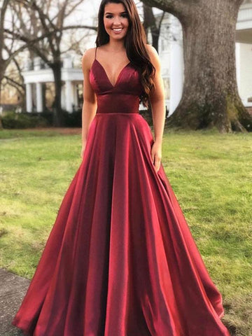 Burgundy v neck satin long prom dress, Burgundy v neck satin long formal evening dress