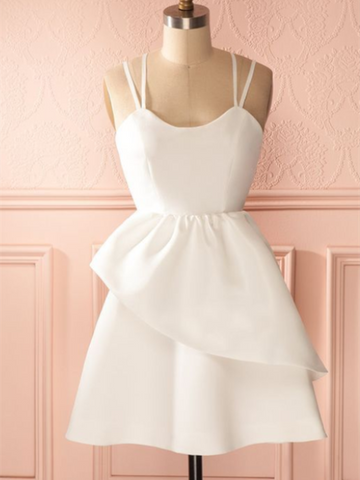 A Line White Short Backless Prom Dress With Double shoulder strap, Short Backless Formal Homecoming Graduation Dresses