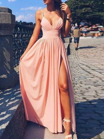 Pink V-neck Sleeveless Split Prom Dresses, V-neck Pink Formal Evening Dresses