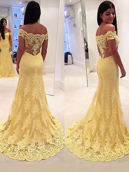 Off The Shoulder Yellow Lace Evening Prom Dress