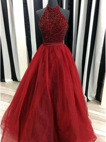 Burgundy beaded  tulle long prom dress, Burgundy beaded formal evening dress