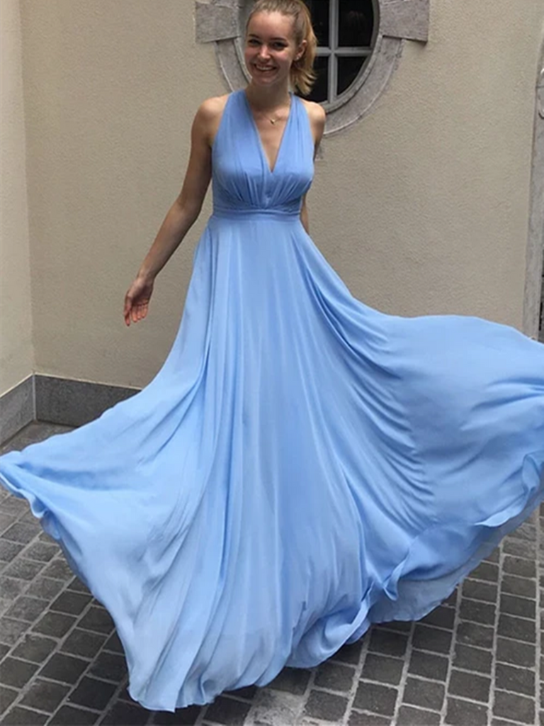 Simple Blue Chiffon Long Prom Dresses,  Blue Chiffon Long Formal Evening Dresses