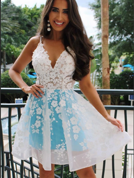 Blue V Neck Tulle White Lace Short Prom Dress, V Neck Lace Homecoming Dress