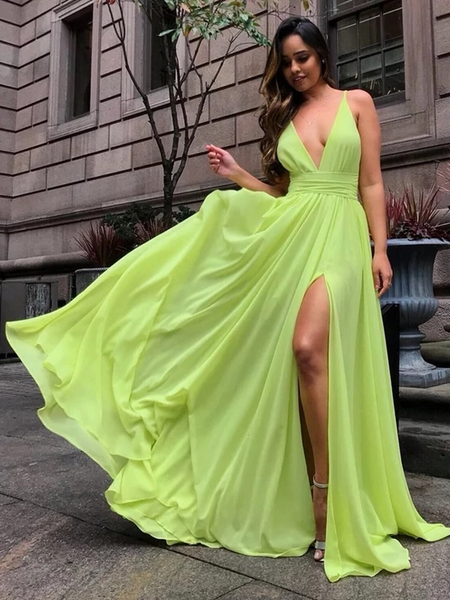 V Neck Bright Yellow Chiffon Long Prom Dresses with Slit, V Neck Bright Yellow Formal Dresses, V Neck Yellow Bridesmaid Dresses