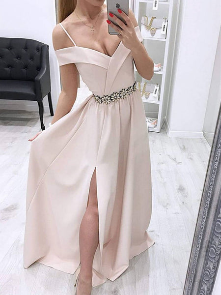 Unique Off Shoulder Long Prom Dress With Side Split, Off The Shoulder Long Evening Dress