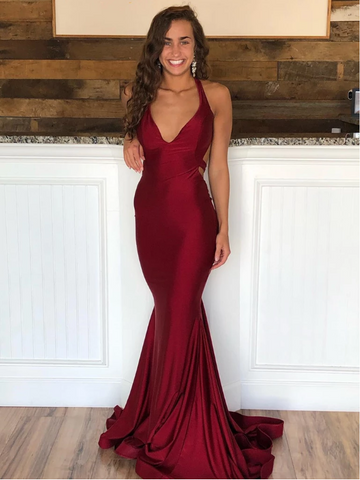 Burgundy Backless Mermaid Long Prom Dresses, Burgundy Mermaid Backless Formal  Evening Graduation Dresses
