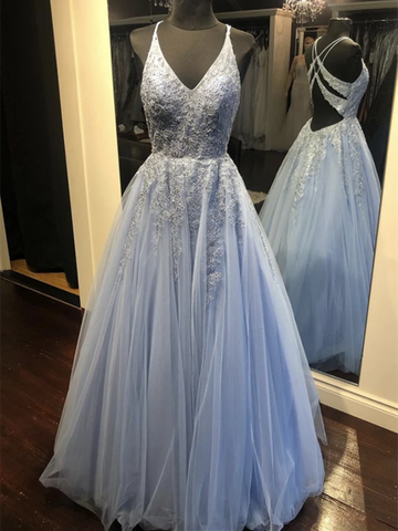 A Line V Neck Blue Lace Tulle Long Prom Dresses, A Line V Neck Blue Lace Tulle Long Formal Evening Dresses
