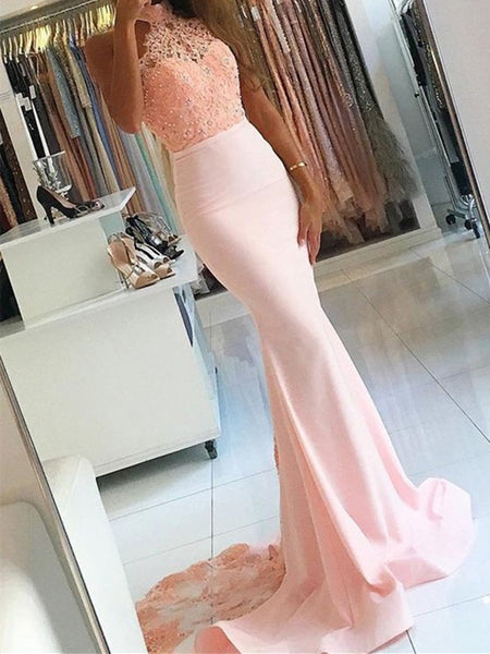 Trumpet/Mermaid Sleeveless High Neck Lace Sweep/Brush Train Satin Dresses, Mermaid Pink Lace Formal Evening Dresses