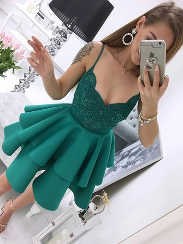A Line V Neck Green Lace Short Satin Prom Dresses,  V Neck Green Lace Short Satin Formal Evening Homecoming Dresses