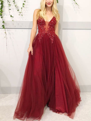 V neck burgundy lace tulle long prom dress, Burgundy beaded formal evening dress