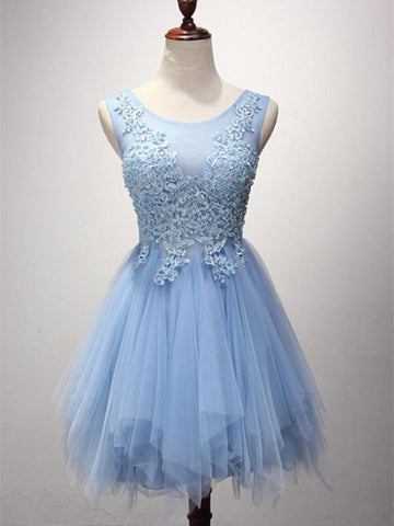 Cute blue lace tulle short homecoming dresses
