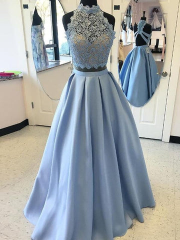 Blue A Line Lace Prom Dress With Cross Back, Blue Lace Two Piece Formal Evening Dress