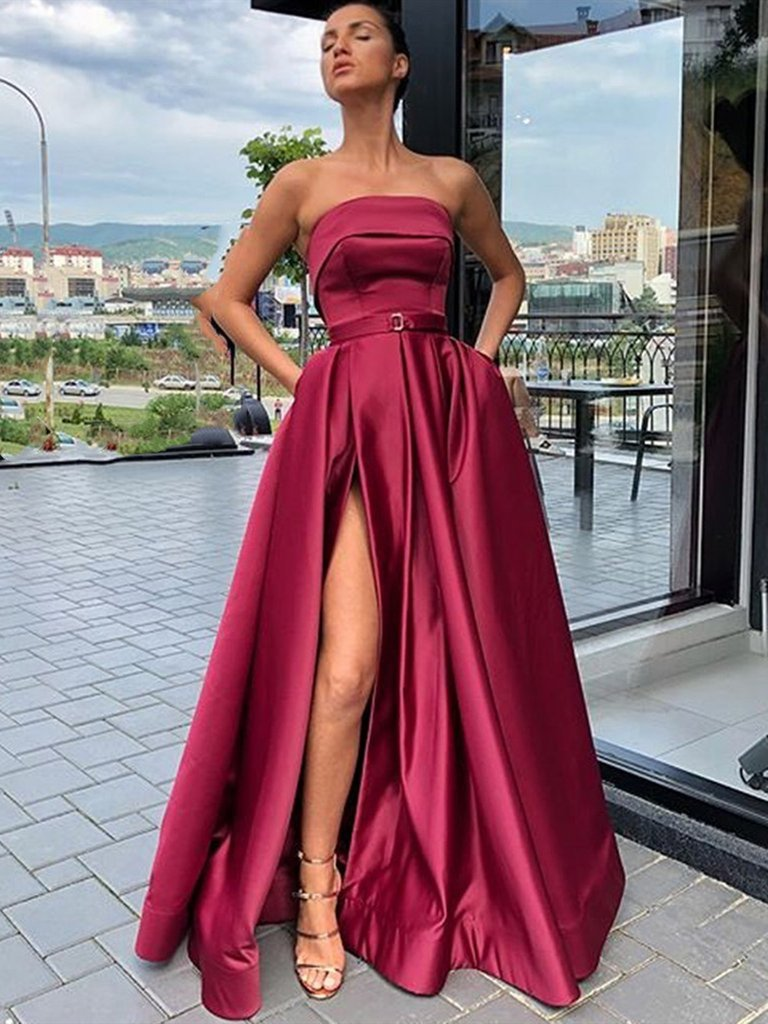 A Line High Slit Burgundy Satin Long Prom Dresses, High Slit Burgundy Satin Long Formal Evening Dresses, Burgundy Long Graduation Dresses