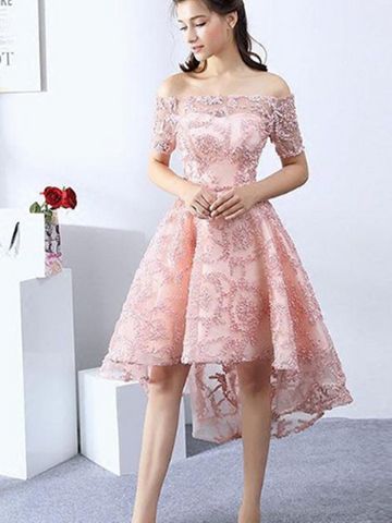 Pink High Low Prom Dress, Short Lace Evening Dress, Homecoming Dress