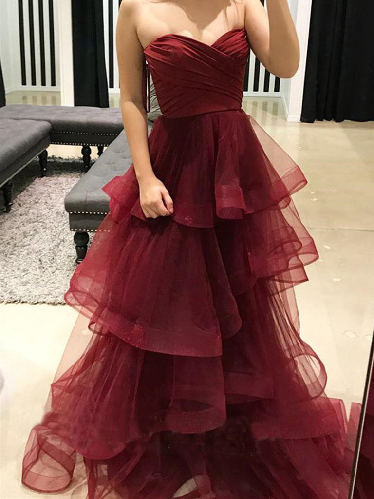Burgundy Sweetheart Puffy Pleated Ruffles Long Prom Dresses,Burgundy Formal Evening Dresses