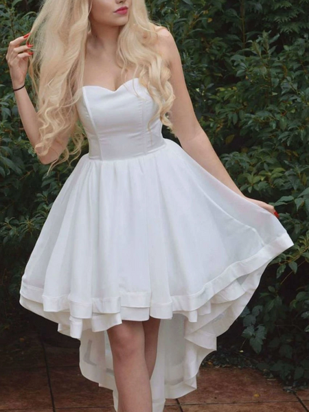 A Line Strapless White High Low Prom Dresses, High Low White Strapless Formal Evening Dresses