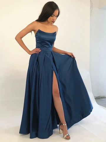 Strapless Navy Blue/Burgundy Prom Dress with Leg Slit, Navy Blue/ Burgundy Formal Evening Bridesmaid Dresses