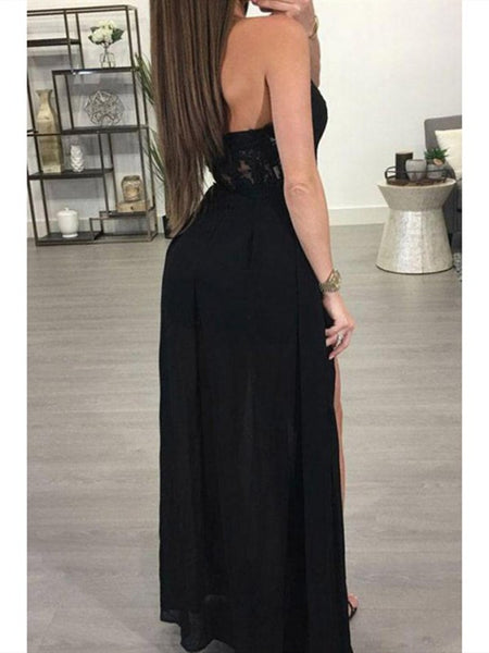 A Line Sexy Lace Black Bridesmaid Dresses,  Sexy Lace Black Prom Dresses