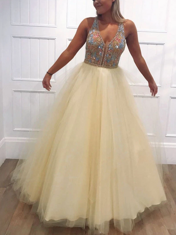 V Neck Yellow Tulle Beads Long Prom Dresses, V Neck Yellow Tulle Beads Long Formal Evening Dresses