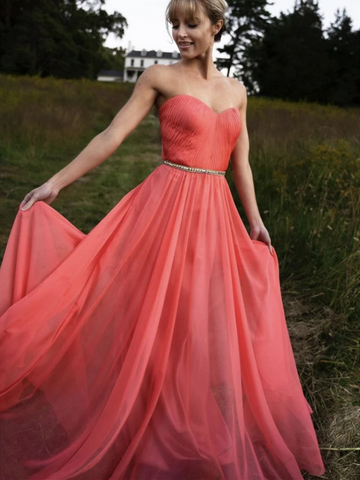 A Line Strapless Chiffon Coral Long Prom Dresses, Coral Long Chiffon Formal Evening Dresses