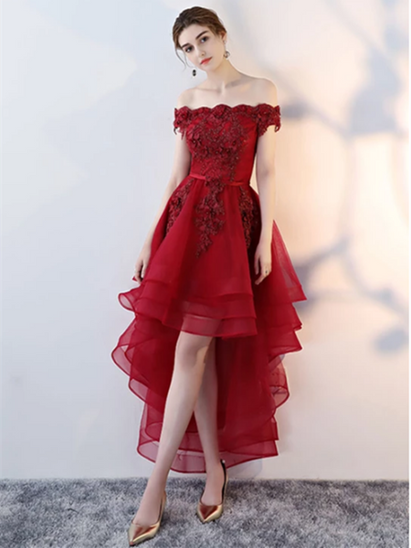 Cute Lace Tulle Short Prom Dress,  Pink/Burgundy High Low Evening Dress