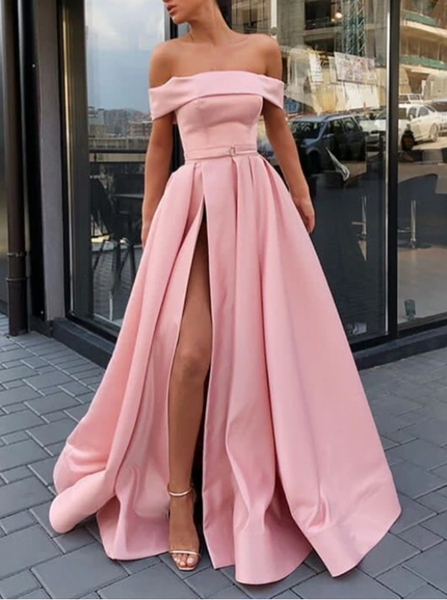 Pink Off Shoulder Satin Long Prom Dresses With High Slit, Pink Formal Dresses, Evening Dresses