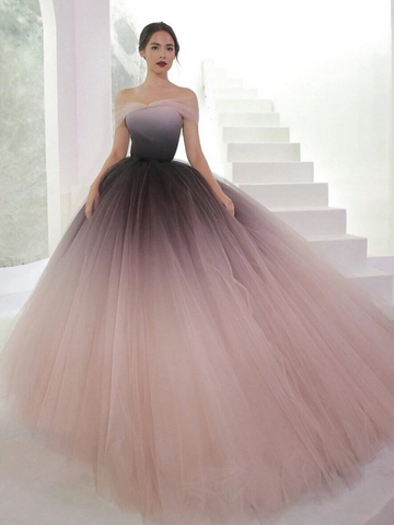 Off Shoulder Ombre Tulle Long Prom Gown, Off The Shoulder Ombre Tulle Formal Prom Evening Dresses