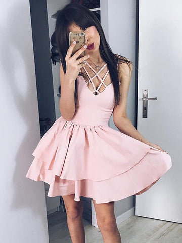 V Neck Pink Short Prom Dresses, V Neck Pink Short Homecoming Graduation Dresses