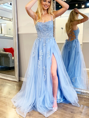 Spaghetti Straps Blue Backless Lace Long Prom Dresses With Leg Slit, Long Backless Blue Lace Formal Evening Dresses