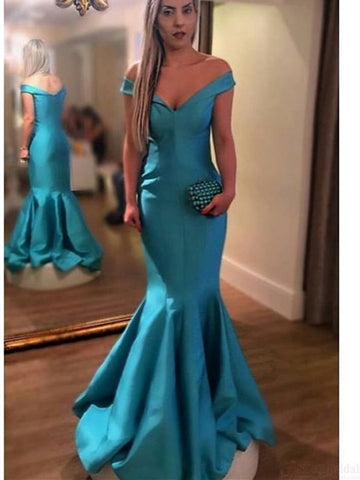 Turquoise off shoulder mermaid long satin prom dresses,  Off shoulder mermaid formal evening dress