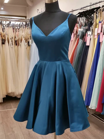 Cute V Neck Satin Short Prom Dresses, V Neck Formal Graduation Evening Dresses