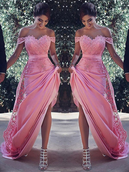 Pink lace Off-the-Shoulder long  Bridesmaid Dress, Pink lace Off-the-Shoulder prom dress
