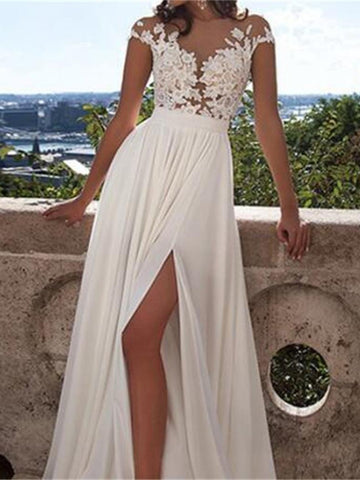 Custom Made Round Neck White Lace Appliques Chiffon Prom Evening Party Dress With Side Slit