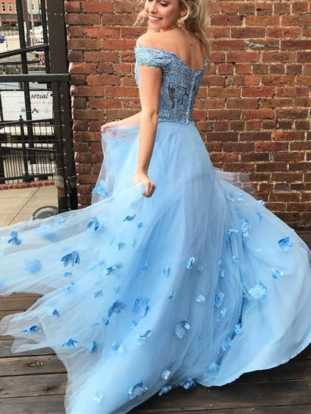 Blue Tulle Lace Off Shoulder Long Prom Dress, Blue Tulle Lace Off The Shoulder Long Formal Evening Dress