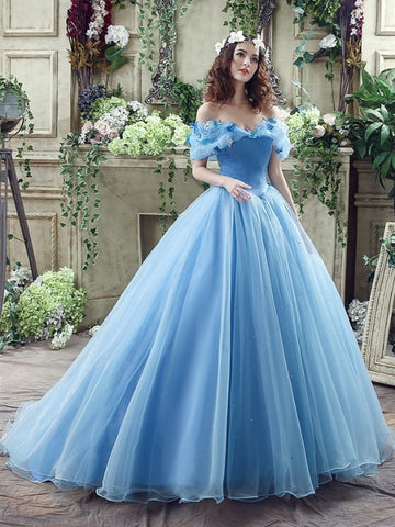 Blue Off The Shoulder Long Prom Dress With Butterfly, Blue Off Shoulder Long Ball Gowns