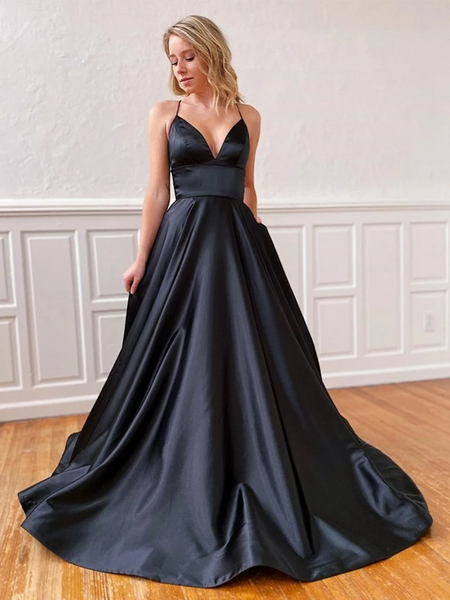 A Line V Neck Black Backless Satin Prom Dresses, Open Back V Neck Black Long Satin Formal Evening Dresses