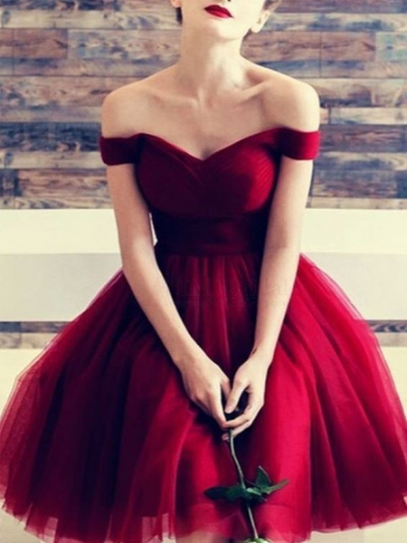 A Line Short Burgundy Off Shoulder Prom Dresses, Short Burgundy Formal Evening Dresses, Graduation Dresses, Homecoming Dresses
