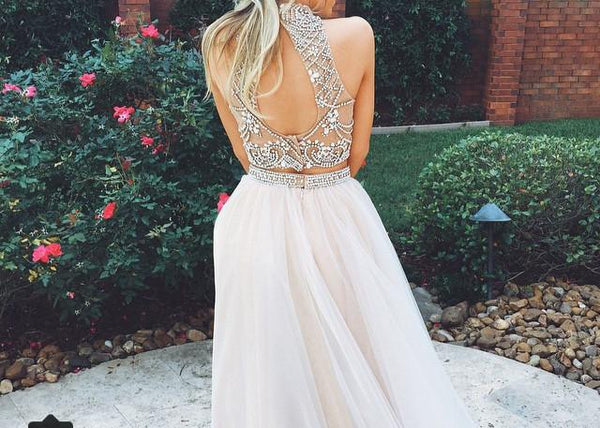 Custom Made Light Champagne 2 Pieces Long Prom Dress, Formal Dress