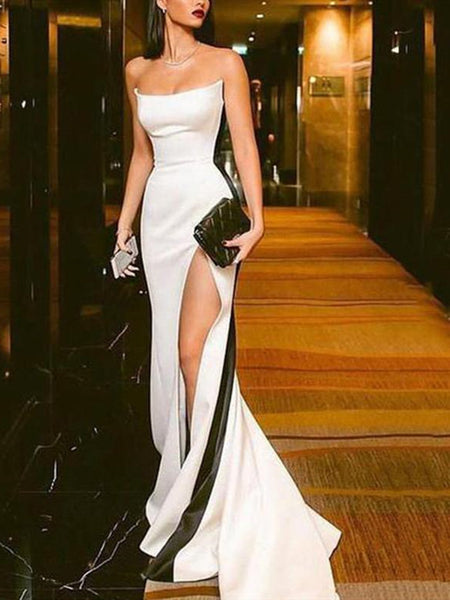 Mermaid Black And White Stitching Tube Top Evening Dress With Leg Slit