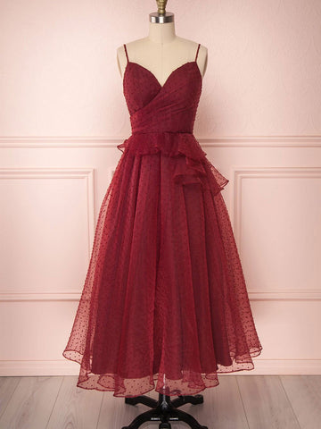 A Line Burgundy Tulle Prom Dresses, Burgundy Formal Evening Dresses