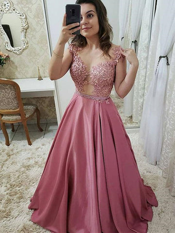 Pink/Royal Blue Lace A-Line/Princess Sleeveless Scoop Long Satin Long Dress, Pink/Royal Blue Lace Formal Evening Dress