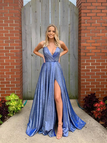 A Line V Neck Blue Long Prom Dresses, Blue Long Formal Evening Dresses