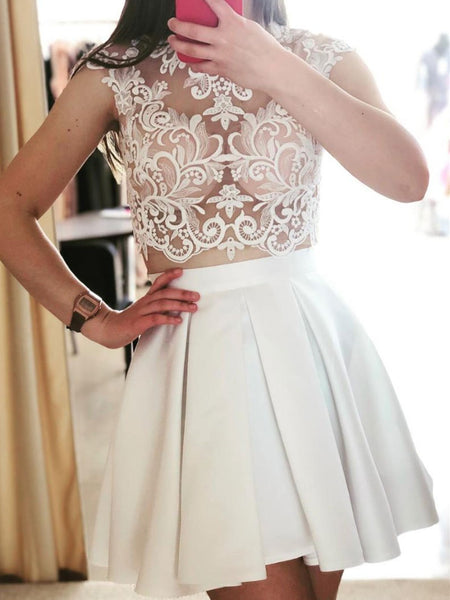 Cute White Two Pieces Lace Short Prom Dress,Cute White 2 Pieces Lace Short Graduation Homecoming Dress