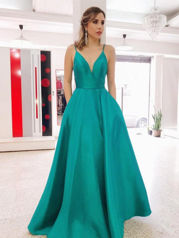 Simple V Neck Green Long Prom Dresses with Pockets, Green Backless Formal Evening Dresses