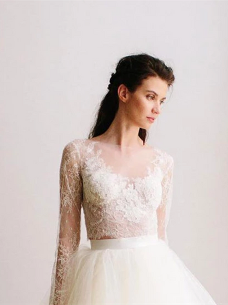 Long Sleeves White Round Neck Two Pieces Lace Tulle Long Prom Dresses, Long Sleeves White 2 Pieces Lace Wedding Dresses