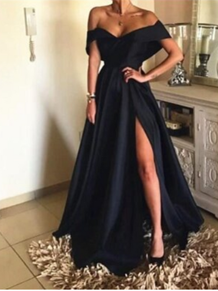 A Line Off Shoulder Black Satin Long Prom Dresses With High Slit, Off The Shoulder Black Formal Evening Graduation Dresses